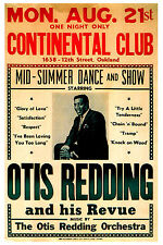 King of Stax: Otis Redding at Continental Club Oakland Concert Poster 1967 12x18