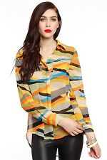 SALE Women Ladies Chiffon Dipped Hem Geometric Stripe Print Blouse Top Shirt UK
