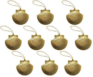 Confezione Di 10 Oro Plastica Conchiglie Albero Natale Ornamenti Nautico Sirena