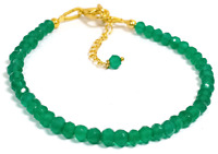 3-4 MM Dyed Green Jade Rondelle Gemstone Faceted Beads Bracelet With Chain