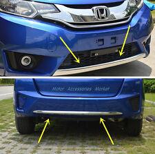 2pcs Chrome Front + Rear Bumper For Honda Jazz Fit Hatchback 2014 2015 2016 2017
