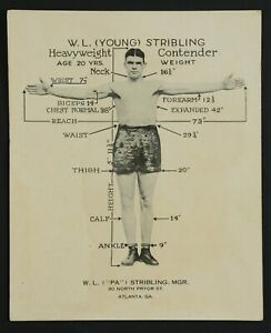 1920s-30s Young Stribling Boxing Promotional Statistical Card