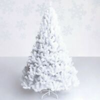 White Christmas Tree Artificial 8 ft Xmas PVC Unlit Undecorated Tree With Stand
