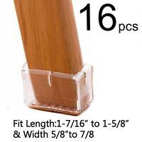 16PCS Clear Rubber Chair Leg Caps Rectangular Tips, Felt Pad For Furniture Table