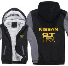 Nissan Gt-R Kapuze Reißverschluss Jacke Mantel Winter Warm Schwarz und Grau