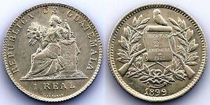 Guatemala-1 Real 1899. UNC Sc- Shine Original Silver 3,1 (G) .Scarce