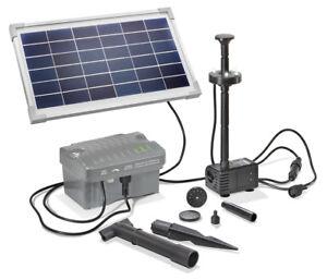 Solar Teichpumpe 8W 300l/h Akku LED Solarpumpe Gartenteichpumpe esotec 101923