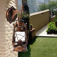 Bronze 15 in. Lamp Oil Metal Lantern Hanging Light Rustic E27 Wall Light Lamp US