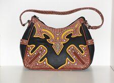 Haley Beez Western Purse Shoulder Bag Black Brown Studded Rhinestones Pockets