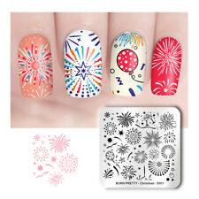 BORN PRETTY Square Nail Art Stamping Plate Nail Stamp Christmas Firework Pattern