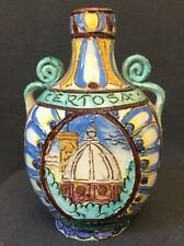 Antique Italian CERTOSA DI FIRENZE Monastic Pilgrim Liqueur Flask Bottle 6in VGC