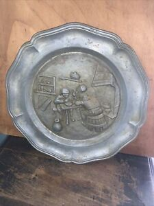 Vintage Pewter Wall Hanging Plate,pub Scene. 3 Men Next To Fire.Marked!