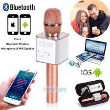 New Q9 Wireless Bluetooth Karaoke Microphone USB Speaker Mini Home KTV Rose Gold