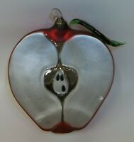 Dept 56 X-Large Hand Blown Glass Red Apple Half Christmas Ornament
