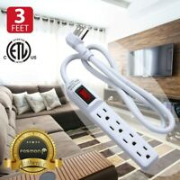 Fosmon 2x 4 Outlet Surge Protector Power Strip Grounded Flat Plug Extension Cord
