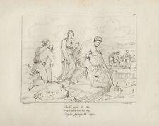 1805 Raffaello incisione in acciaio Psichè attraversa il fiume Stige