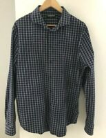 Country Road Men's size XL Shirt Navy Blue White Check Long Sleeves Slim Fit