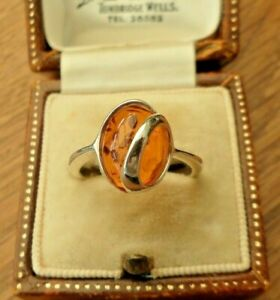 VINTAGE JEWELLERY SILVER 925 AMBER CABOCHON RING