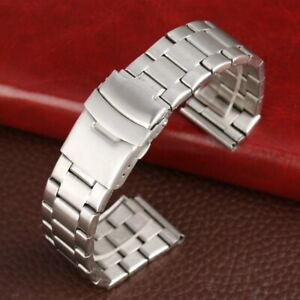 Black/Silver 20/22mm Stainless Steel Watch Band Strap Bracelet Straight Ends
