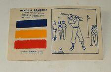 IMAGE à COLORIER Golf pour le CONCOURS de COLORIAGE ALLO 1954 - Couleurs SIMPLO