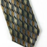 "Bruno Piattelli Mens Silk Neck Tie Gold Silver Grey Geometric Pattern 57""x 4"""