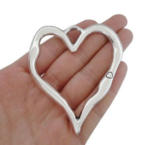 2 x Antique Silver Tone Large Open Heart Charms Pendants for Necklace Making