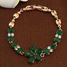 Women Flower Crystal 10KT Gold Filled Cuff Emerald Bracelet Bangle Gift Wedding