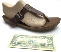Blowfish Greco T-Strap Sandals Choc Brown Vegan Leather Slip On Buckle Womens 10