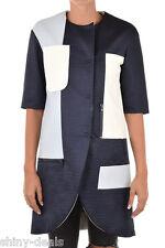 DROMe New Woman Blue Leather Overcoat Jacket Coat Blazer Size S $1459 Italy Made
