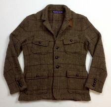 Ralph Lauren Purple Label Men Lamb Wool Alpaca Tweed Knit Jacket Blazer Cardigan