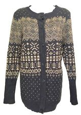 LOVE STITCH Knitted Longline Winter Pattern Jumper/Cardigan Size L