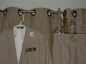 NWT new JOS A BANK Tropical Blend Suit 38 Reg Tan Glen Plaid Cotton Blend 32 Pts
