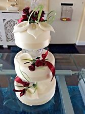 WEDDING CAKE SUGAR ROSES & LILYS SET OF 3 DARK RED & IVORY, in most colours D 25