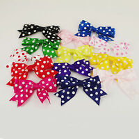 Spotty Bows, Large Double Satin Ribbon, With Tails 3-4 inch