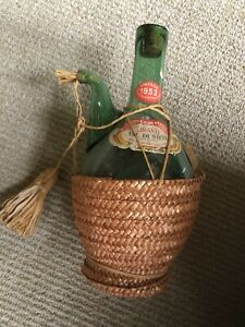 Vintage 1953 Wine Bottle Chianti Val Di Sieve Italy Straw Woven Empty