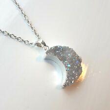 Pastel Crystal Druzy Moon Necklace - Sparkly Grey Silver Boho Rough Raw Pendant