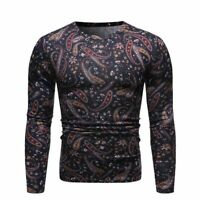 Tee T-shirt Casual Crew Neck Warm Men's Floral Long Sleeve Winter Slim Fit Tops
