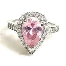 Pink Sapphire Pear Round Diamond Halo Wedding Ring Women Jewelry Size 6 R616