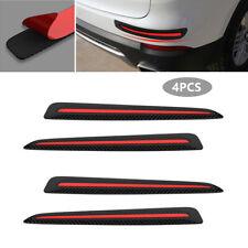 4X Carbon Fiber Black Car Front+Rear Bumper Crash Strip Protections Accessories