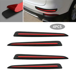 4X Carbon Fiber Black Car Front+Rear Bumper Crash Strip Protections Accessories