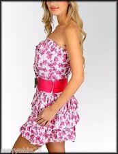 New Pink Roses White Strapless Floral Mini Dress Casual Sun Ruffled sexy S M L