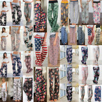 Women Floral Soft Yoga Lounge Sport Wide Leg Casual Loose Long Pants Trousers