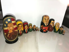 VINTAGE RUSSIAN WOOD NESTING DOLLS MATRYOSHKA PRESIDENTS   2 Sets