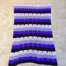 HAND CROCHET BLACK PURPLE  MULTI STRIPES AFGHAN LAP BLANKET THROW
