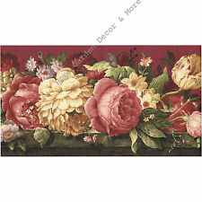Victorian Burgundy Crackle Cabbage Rose Tulip Floral Flower Wall paper Border