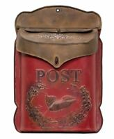 RED RUST Post Box Vintage Style Mailbox Cottage Rustic Metal Farmhouse Aged