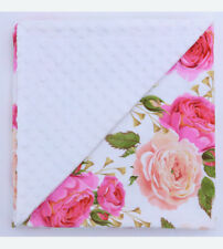 New Aubrey FLORAL Minky Baby Blanket Stroller Pram Crib Shower Gift