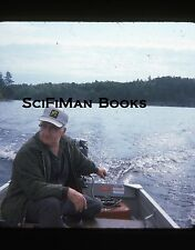 KODACHROME 35mm Slide Canada Fishing Trip Man Old Boat Motor Lake Fashion 1975!