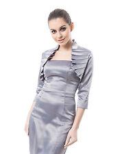 Women Wedding Satin Bolero Shrug Jacket Stole 3/4 Length Sleeve UK Size S/M/L/XL