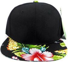 2 TONE BLACK CROWN FLORAL PRINT BILL SNAPBACK HAT CAP FLAT BILL FLOWER NEW BLANK